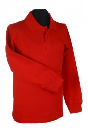 Polo marškinėliai ilgomis rankovėmis (Spalva: Raudona)