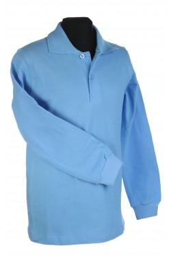 Polo marškinėliai ilgomis rankovėmis (Spalva: Šviesiai mėlyna)