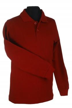Polo marškinėliai ilgomis rankovėmis (Spalva: Bordinė)
